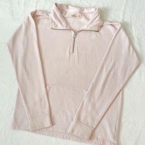hollister light pink quarter zip sweatshirt